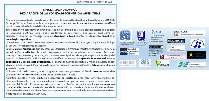 Adhesión de la SAB al comunicado de sociedades científicas por el no financiamiento de CONICET a reuniones/congresos científicos 2019
