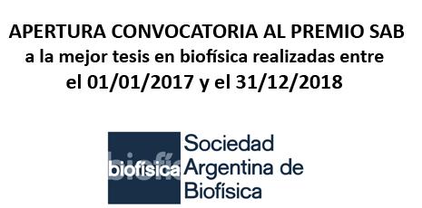 CONVOCATORIA AL PREMIO SAB a la mejor tesis en biofísica