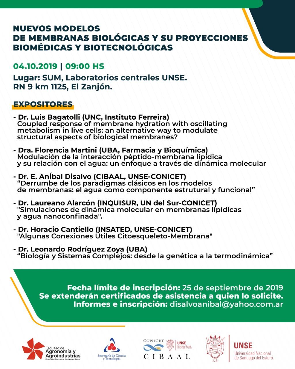 Seminario CIBAAL Santiago del Estero-Nuevos modelos de membranas biológicas